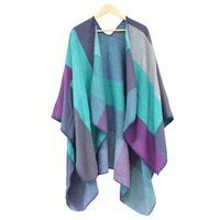 Alibaba fashionable knitted scarf thickening cape shawl for wholesale