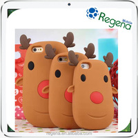 hot sale christmas gifts 2015 silicone phone case christmas deer for iphone 6, 4.7""