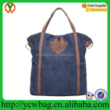 fashion Extra large capacity canvas shopping bag with leather trim