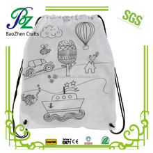 Cartoon Painting backpack DIY Non woven drawstring bag for kids drawing
