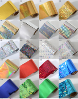 DIY Design Colorful Laser Paper Rolls Wraps Nail Art Transfer Foil With Transfer Foil Glue