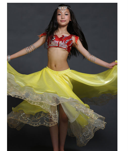 Children Embroidery Belly Dance Wear, Children Belly Dance Costume , Belly Dance Yellow Skirt