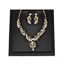 Wedding Women Necklace Classic Imitation Pearl Gold Jewelry Sets Women