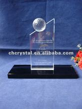 Crystal Golfball Trophy with black base , crystal trophy with globe