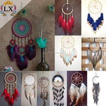 DLX-00002 custom handmade lace feather dreamcatcher with long tassel for home decoration