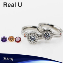 Numeral Carved Cheap Stackable Gemstone Rings in Stainless Steel