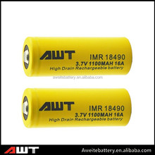 High power 1100mah battery 3.7v li-ion AWT 18490 rechargeable battry charge laptop battery without charger