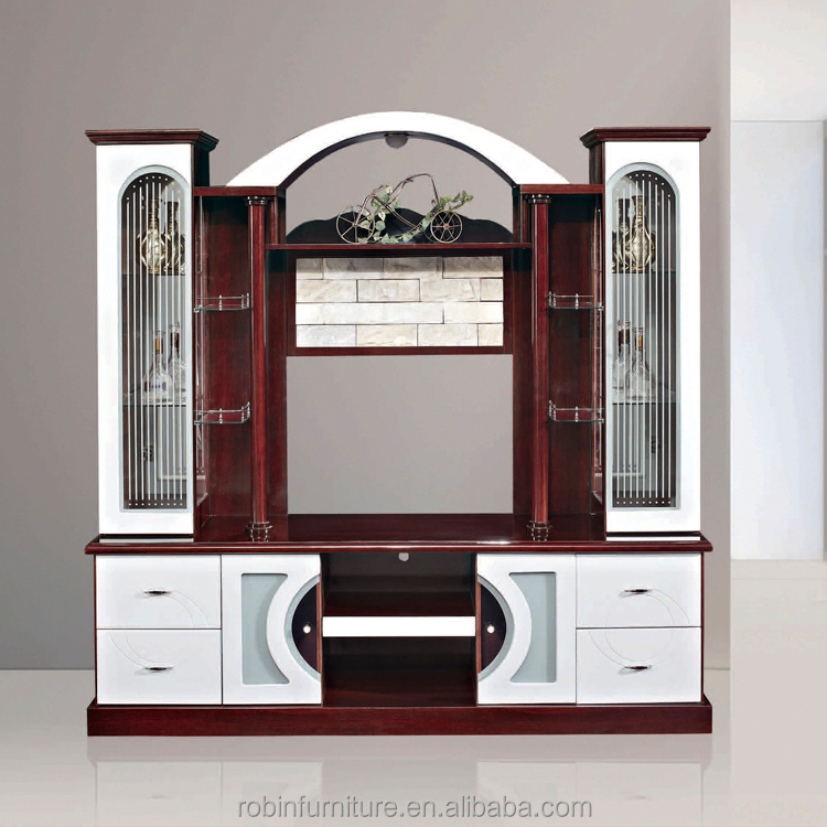 Modern wall units designs in living room 815AB competitive price white glass tv stands furniture