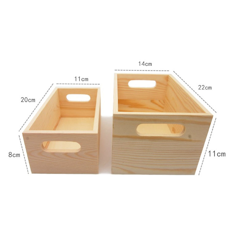 yuguang crafts natural pine wood storage crates with handle cajas de madera