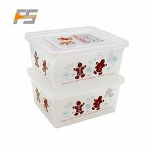Custom Promotional New Fashion Christmas Plastic Storage Box With Interlock Lid