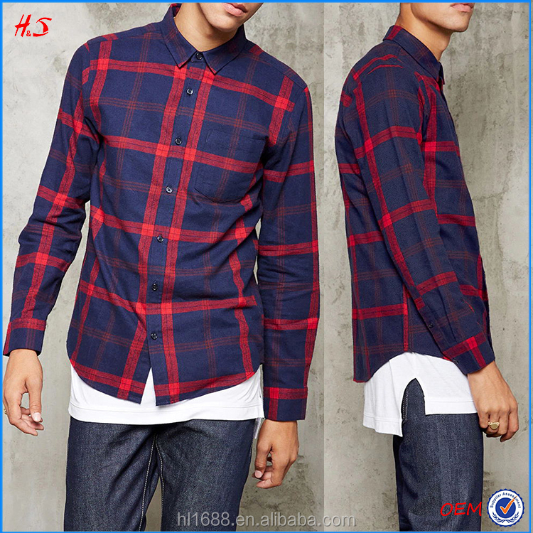 Wholesale latest fashion shirt designs for men 100% cotton plaid flannel shirt custom men formal shirt