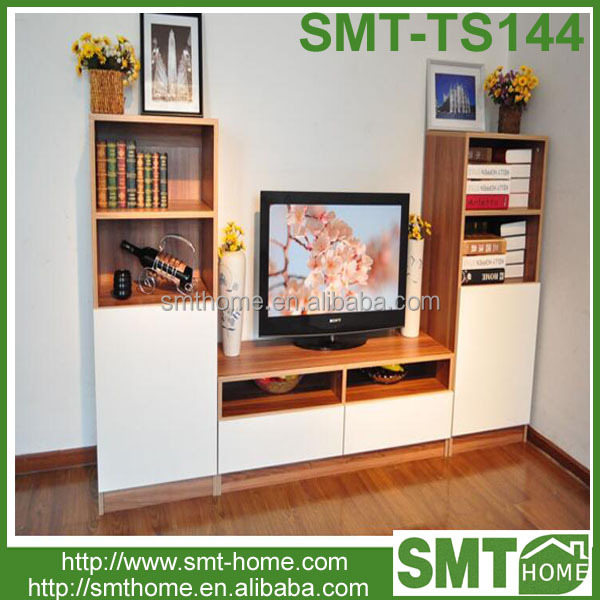 european mdf panel furniture tv cabinet with showcase