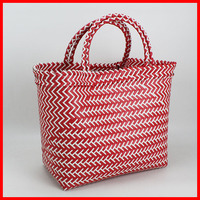 Colorful recycle woven plastic beach bag