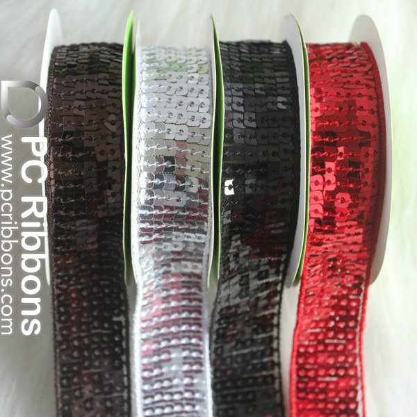 red fabric trim embroidery gold sequin ribbon