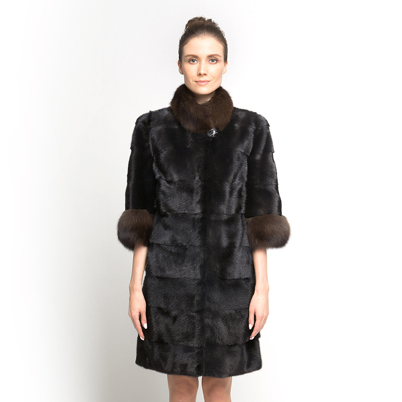 QD70785 Hot Sell Newest Russian Stylish Winter Sexy Lady Mink Fur Coat with Ferrets Fur Collar