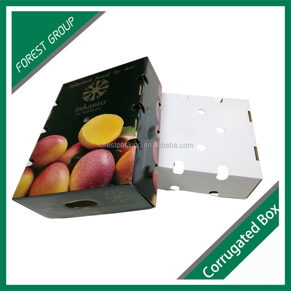 4 color printing custom corrugated kraft paper carton box for fruit packing wholesale