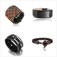 Free Sample Cooshion jewelry stainless steel leather black bracelet men, anchor bracelet, jewelry vendors