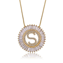 fashion gold plated custom long chain cz micro pave 26 initial alphabet letter pendants charm necklace for women jewelry