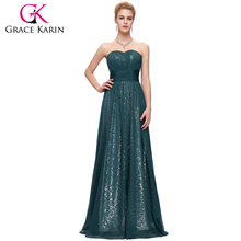 Grace Karin Mature Ladies Formal Dark Green Evening Dresses Long CL6005-3
