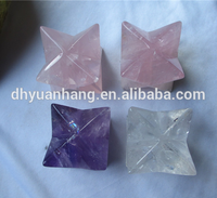 High quality custom-made wholesale crystal quartz merkaba star,crystal healing 8 pointed star