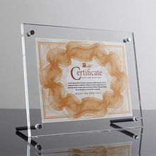 Desktop Square Clear Acrylic Certificate Holder Lucite Photo Sign Frame