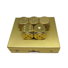 6-sided 16mm Rounded Corner Gold Color Metal Dice with Standard Dots
