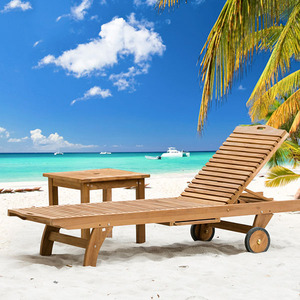Pool side relax sun lounger wooden folding lounge chair