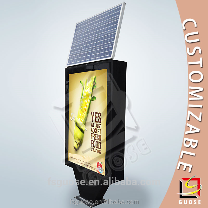 2016 year solar power light box advertising rotating display stand