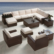New Arrival large 10 seater sofa group with chaise lounge wicker patio set rattan garden furniture