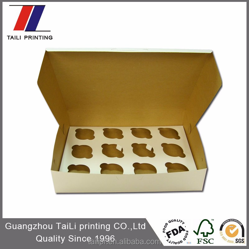 Disposable Custom Printed Paper Board Cupcake Box