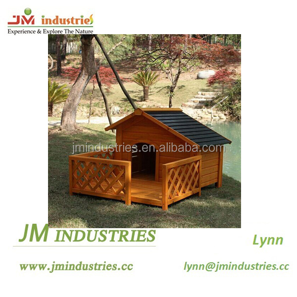 outdoor dog house with balcony
