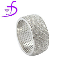 High quality and cheap Micro pave Zircon men ring 925 solid silver Diamond ring
