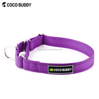 Strong and durable safety reflective stitching Nylon martingale dog collars for training