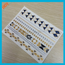 Jewelry design temporary gold and silver tattoo