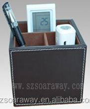 square design Leather Desktop pen holder/ pen container