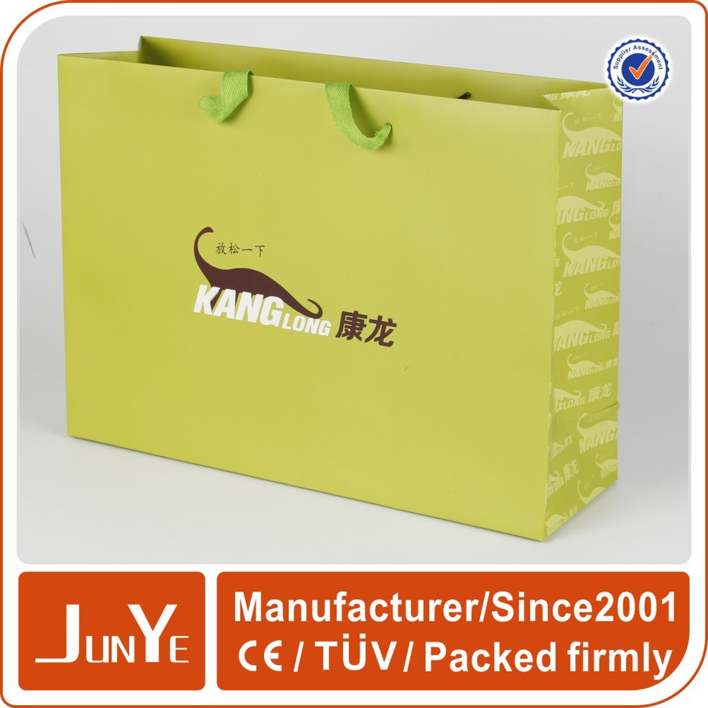 Coated personalized t shirt packaging paper bag with ribbon handle