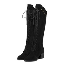 Ladies Genuine Leather Long Lace up Block High Heel Knee Boots Women Heels Shoes 2018