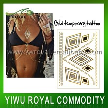 Fashion Body Art 2d Necklace Flash Foil Temporary Gold Tattoos