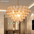 MEEROSEE New Arrival Nordic Style Glass Ball Pendant Lights Modern Creative Gold Metal Chandelier Hanging Lamp MD85515