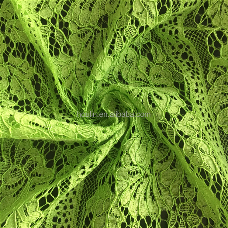 Non-fading green lace in switzerland indian lace fabrics