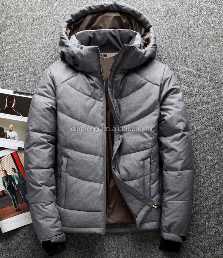 Polyester Fabric Making Woodland Winter Waterproof Leather Goose Duck Down Parka Jacket For Men