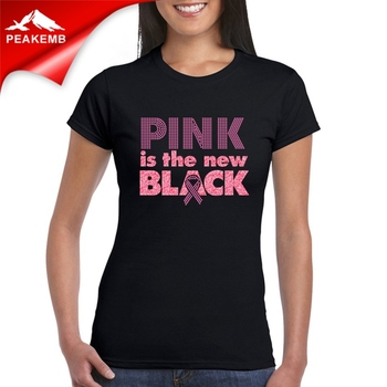 100% Cotton Women's O-neck Black t-shirt  with custom printed logo