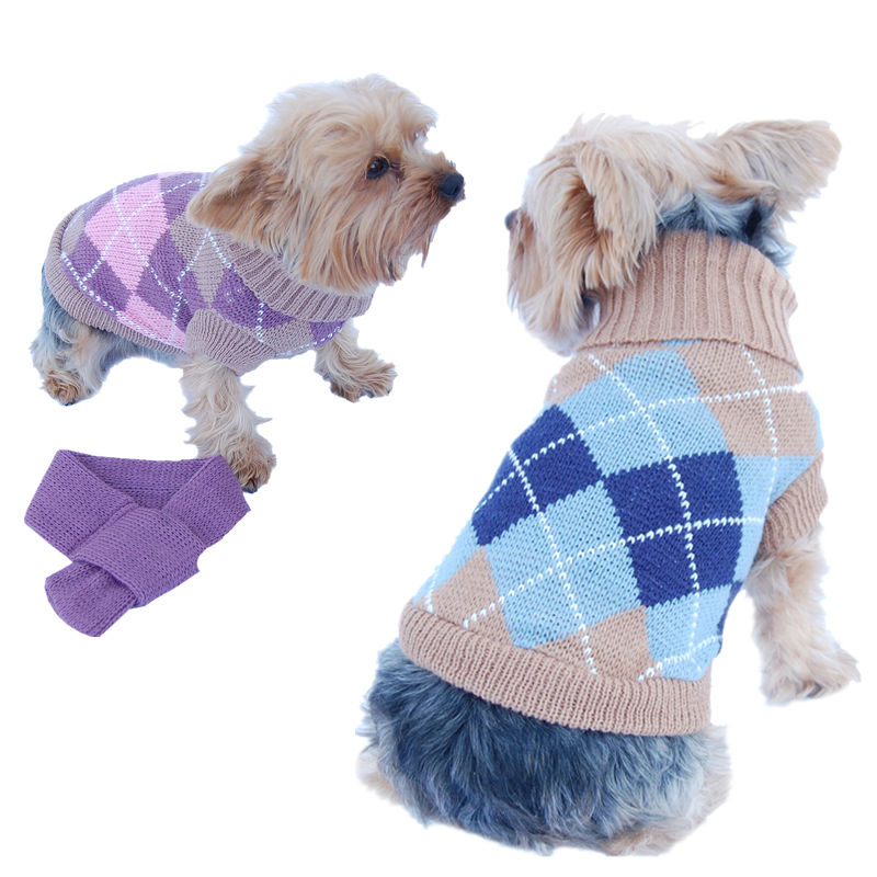 Dog Knitting Wool Plaid Turtle neck Sweater with Scarf Pet Winter Clothes