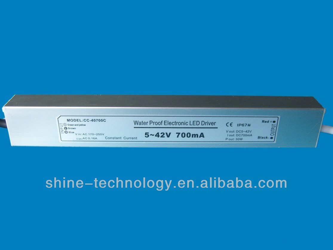 High quality constant current dc led driver 700ma 30w waterproof IP67