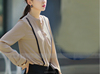 4-The Most Fashionable Office Lady Blouse Uniform,Flounced chiffon shirt summer wear fashion commute, for wholesale