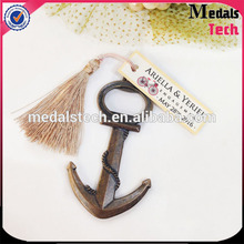 Promotion custom metal antique plated anchor beer bottle opener with cardboard