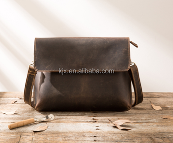 Crazy Horse Leather Messenger Bag for Men