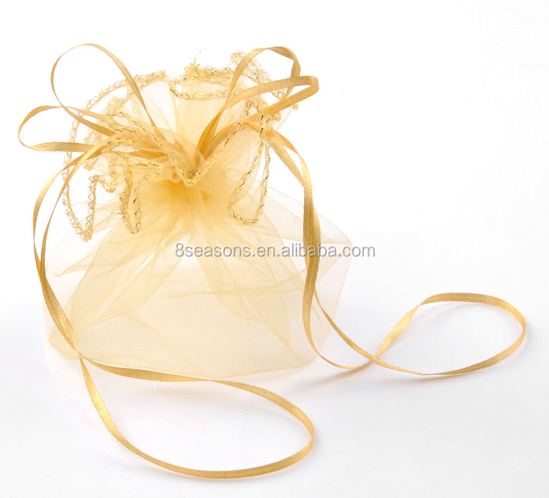 Yellow Wedding Gift Bags & Pouches Small Drawstring Mesh Jewelry Organza Bag