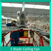 Three phase 284 inch big power industrial ceiling fan with low speed for big working shop