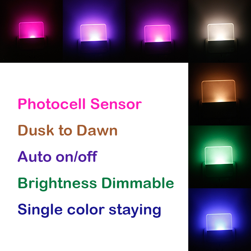 New Dimmable RGB color changing 8 colors staying plug in led night light